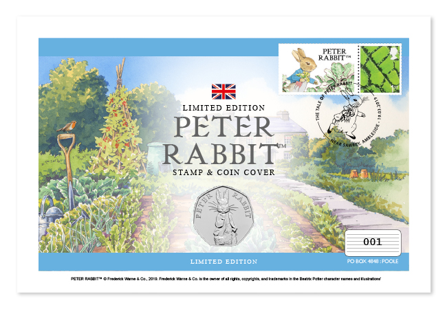 Peter Rabbit first day cover, with 50p and stamps. In the background there is a watercolour illustration of a veg patch and Hill Top Farm.