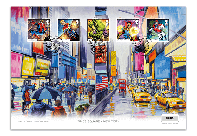 MARVEL Comics Stamps - Artist Edition first day cover. With five stamps along the top and a colourful oil painting of New York's Times Square in the background.