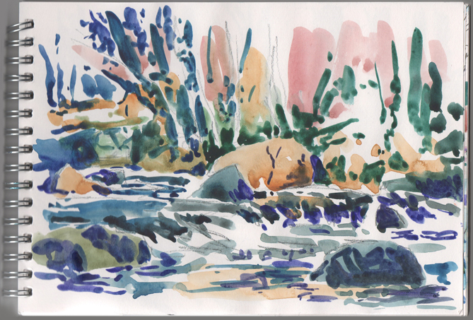 Watercolour sketch of the River Teign