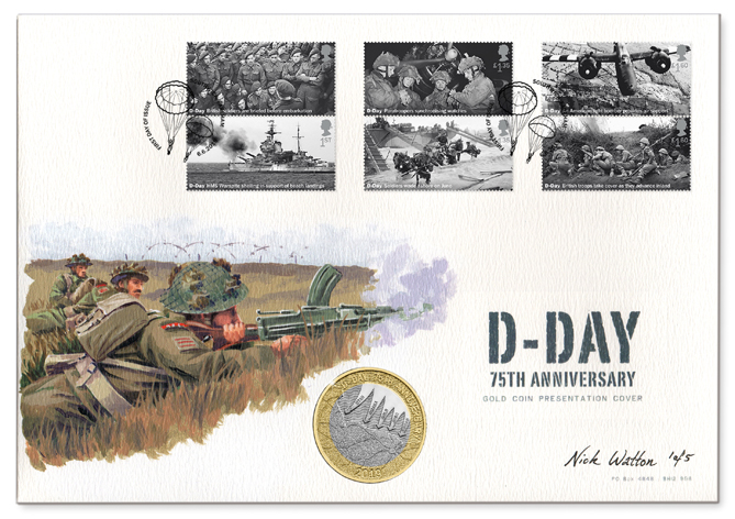 D-Day First Day Cover with six postage stamps, a coin and an illustration of soldiers of the Shropshire Light Infantry.