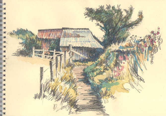 Pencil and watercolour sketch of an Old Barn on the Cornish Coast Path.