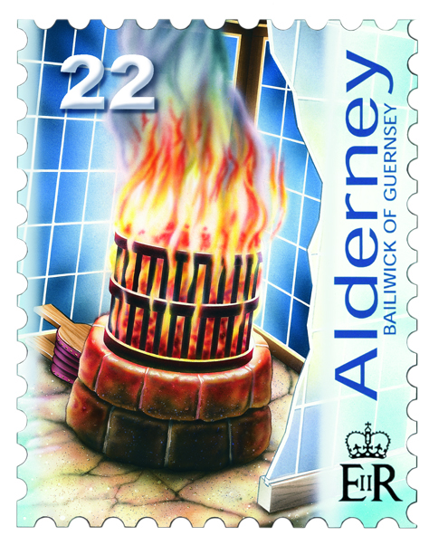 Casquets coal-fired brazier lighthouse, 22p postage stamp