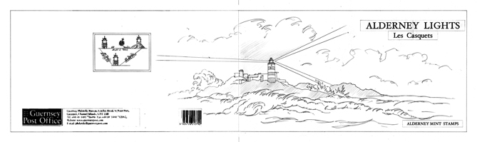 Final pencil drawing showing how Casquets Lighthouse looks today on a dark and stormy night.
