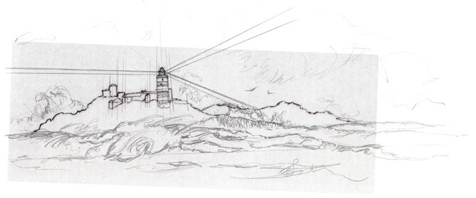 Initial sketch of Casquets Lighthouse for the Presentation Pack.