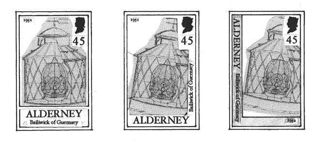 Different designs for Casquets Lighthouse stamps