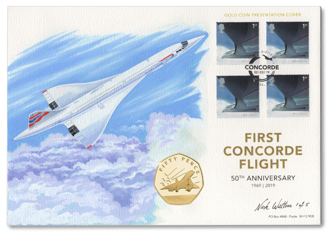 Concorde First Day Cover with four postage stamps, a coin and an illustration of the plane flying above the clouds.