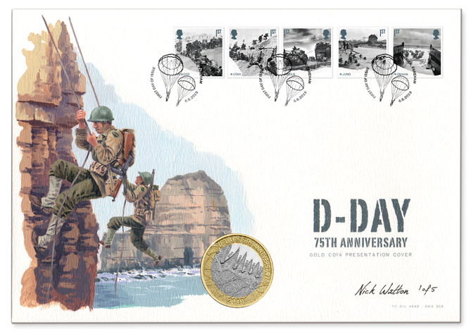 D-Day First Day Cover with five postage stamps, a coin and an illustration of US Rangers climbing Pointe du Hoc.