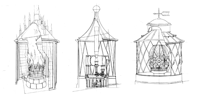 Drawings for different Casquets Light Systems