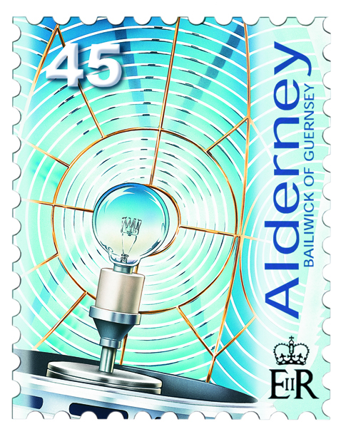 Airbrush artwork for an Alderney Stamp of the bulb in Les Casquets Lighthouse.