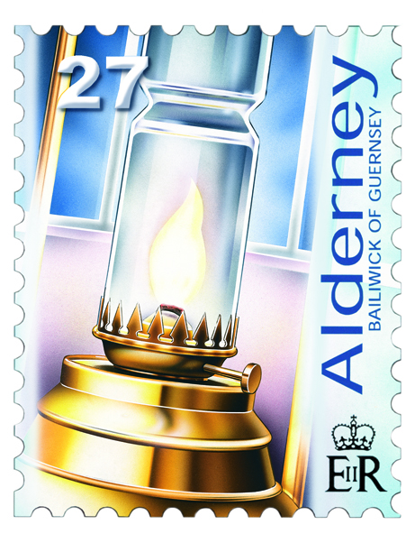 Casquets Lighthouse oil lamp postage stamp.