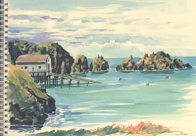 Watercolour sketch of Trevose Head with the Merope Rocks and the Lifeboat Station.