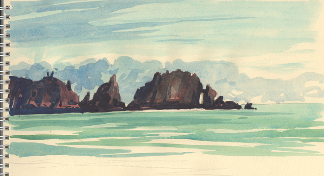 Watercolour sketch of the Merope Rocks at Trevose Head.