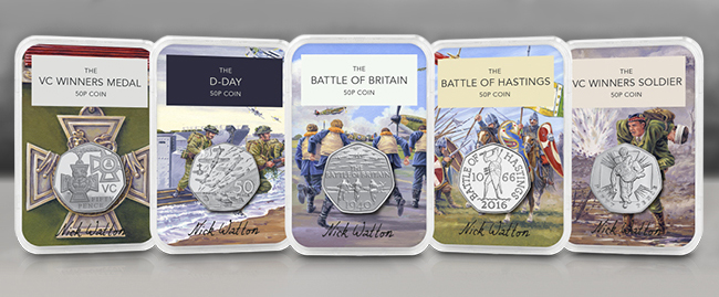 Five Collectology Signed Military 50p's each signed by the artist of the background.