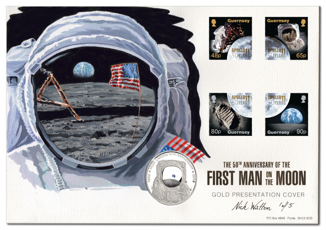Moon Landing First Day Covers with four postage stamps, coin, with an illustration of an Astronaut with the flag, Lander and Earth reflected in his visor.
