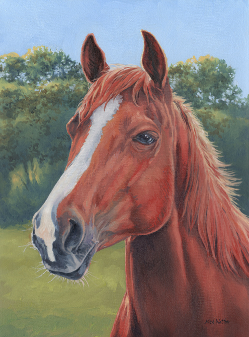 Oil painted horse portrait of the head and neck.
