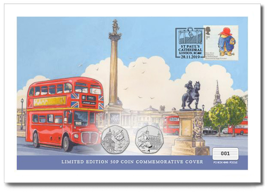 Paddington first day cover, with two 50p's and stamp. On the cover is a watercolour illustration of Trafalgar Square and a London Bus.