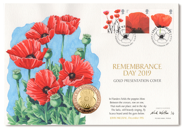 Remembrance First Day Cover with a coin and three postage stamps and a watercolour illustration of Poppys
