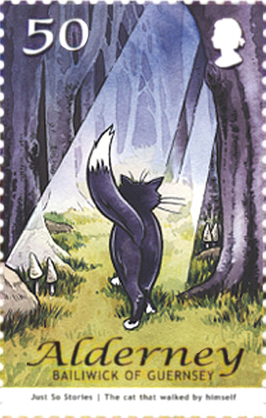 Alderney Just So postage stamp with a watercolour illustration of the Cat that walked by himself.