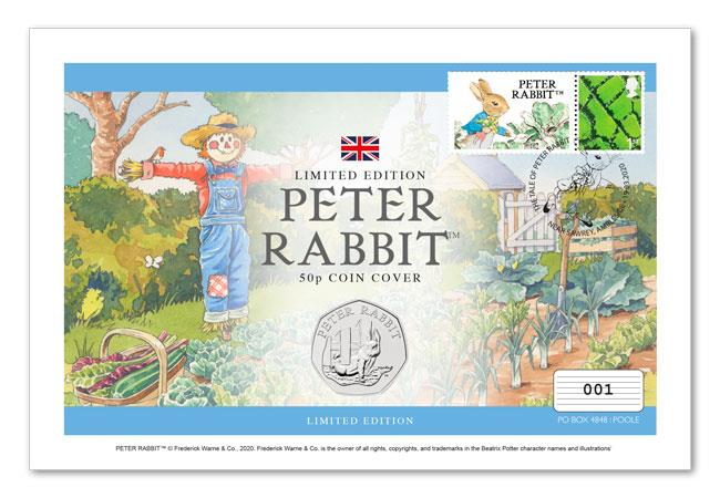 Image of Peter Rabbit first day cover, with 50p and stamps on it. In the background there is a watercolour illustration of a veg patch and scarecrow.