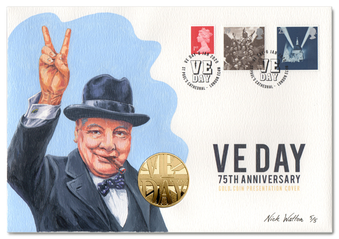 VE Day First Day Cover with a painting of Churchill, a coin and three postage stamps