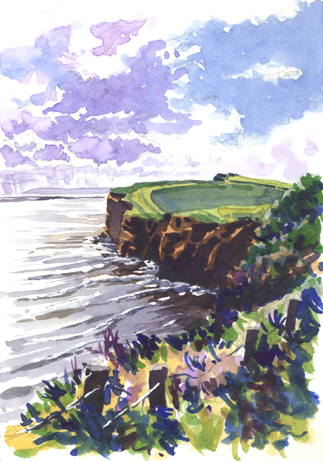 Watercolour sketch looking west along the South Devon coast path, to Black Head.