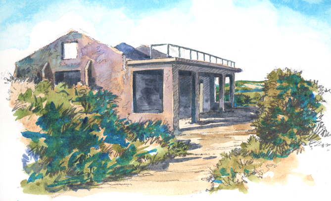 Pencil and watercolour sketch of the World War 2, Observation Post on Brandy Head.