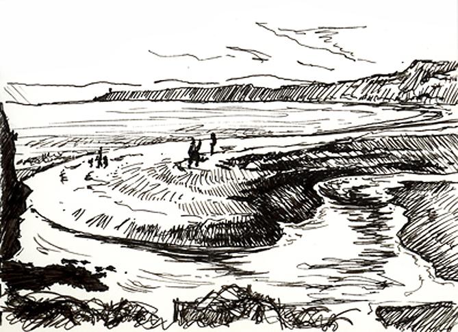 Pen sketch of Budleigh's Pebble Bar.
