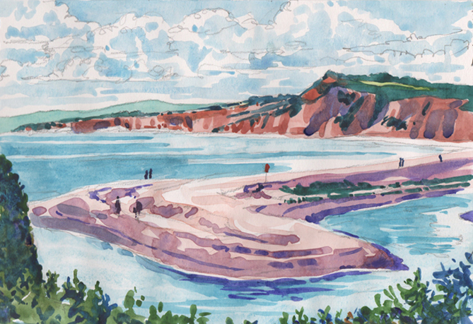 Watercolour sketch of Budleigh's Pebble Spit.
