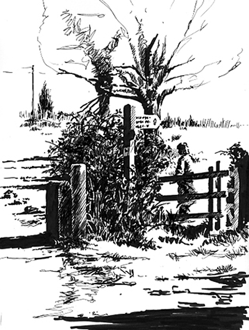 Pen sketch of a stile on the Coast Path.