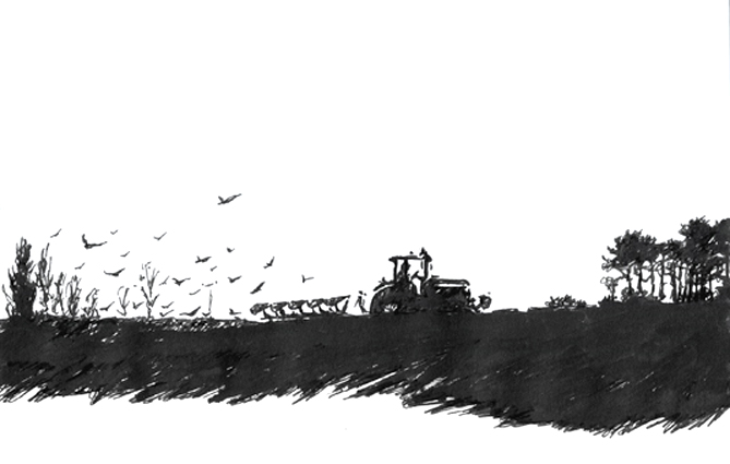 Pen sketch of a tractor ploughing.