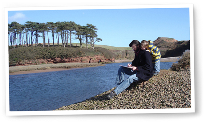 Photo of Nick Watton sketching on the Otter Estuary