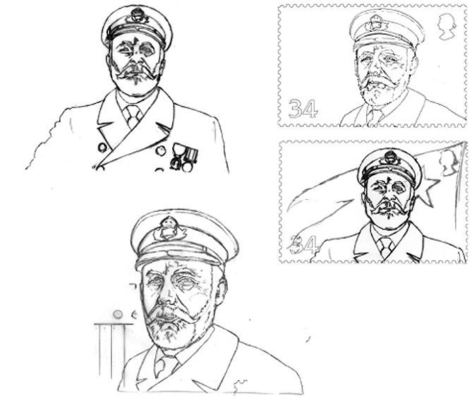 Pencil designs for the Titanic Captin postage stamp.