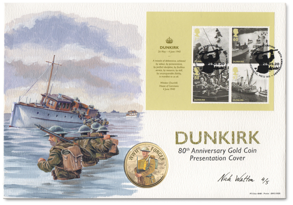 Oil painting on a First Day Cover of Dunkirk soldiers wading out to a small boat.