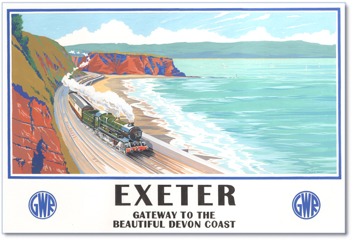 Painted GWR style poster of a  King Class loco rounding the coast around Dawlish.