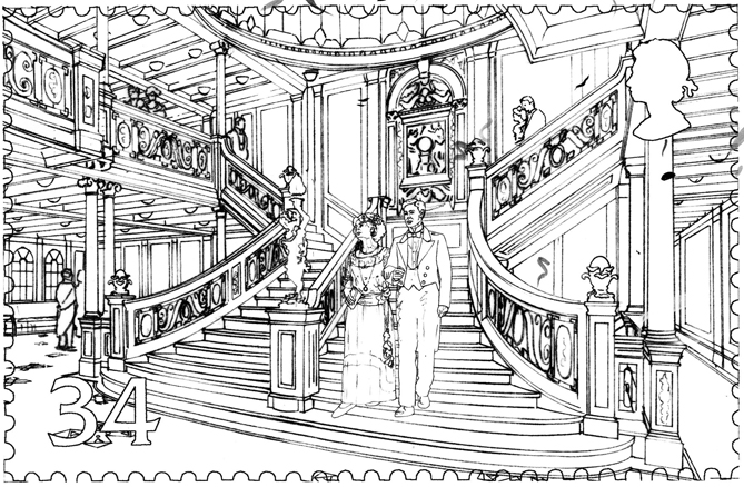 Final drawing of the Titanic staircase stamp with the people added.