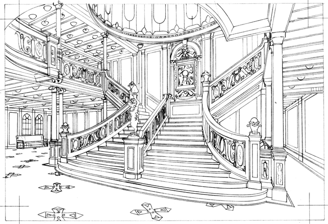 Pencil drawing of the Titanic staircase stamp.