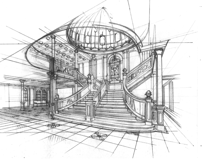 Perspective drawing of the Titanic's staircase.
