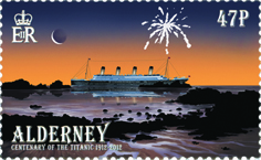 Postage stamp with an illustration of the Titanic sailing past Alderney.