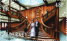 Postage stamp with an illustration of the Titanic's staircase.