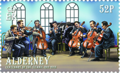 Postage stamp showing all the band members playing as the Titanic sank.