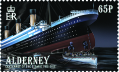 Postage stamp with an illustration of the Titanic sinking, with lifeboats heading out.