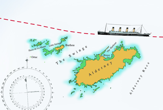 Illustration of a chart showing the Titanic sailing past Alderney.