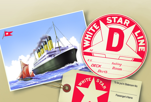 Illustration of Titanic luggage labels and a postcard of the ship.