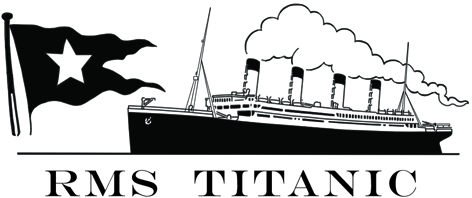 Black & white Titanic logo, with the White Star flag and the ship alongside.