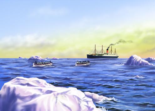 Illustration of the RMS Carpathia picking up Titanic survivors