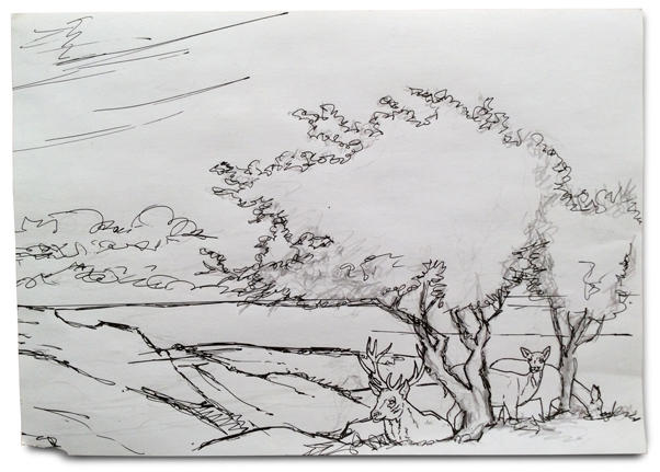 Exmoor drawing with the Red Deer shown clearly.