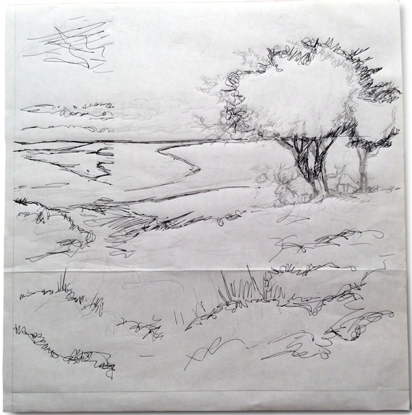 Drawing looking out across Exmoor with trees and Red Deer.