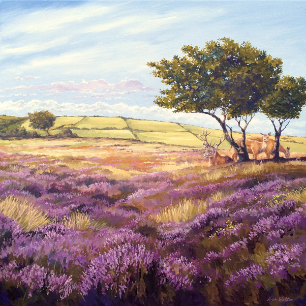 Oil painting looking across Exmoor with Red Deer, heather and windswept trees.