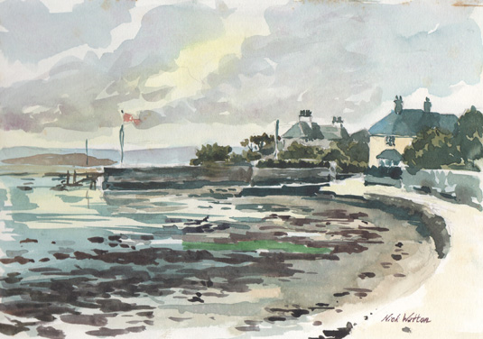 Watercolour sketch by artist showing the view from the end of the Goat Walk looking north towards Topsham.
