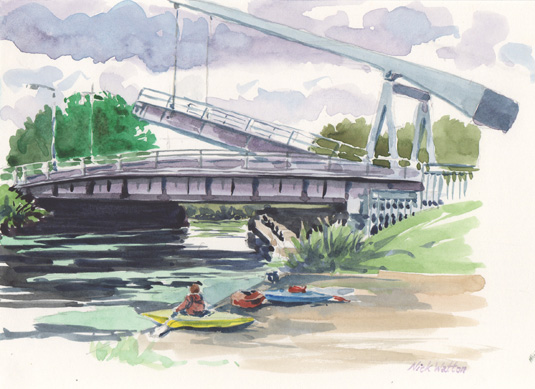 Watercolour sketch of the Bascule and Swing Bridge on the Exeter Ship Canal.
